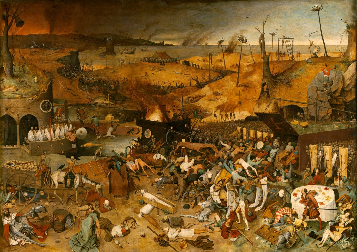 """With >1 million deaths by #covid19 recorded, """"The Triumph of Death, by Brueghel 'The Elder' (~1562) should vividly remind us what that #million really means: pain, suffering, despair. Don't get numb with the news and numbers. https://t.co/RlGhLccHSi #art #coronavirus #pandemic https://t.co/qqGlaAY6KF"""