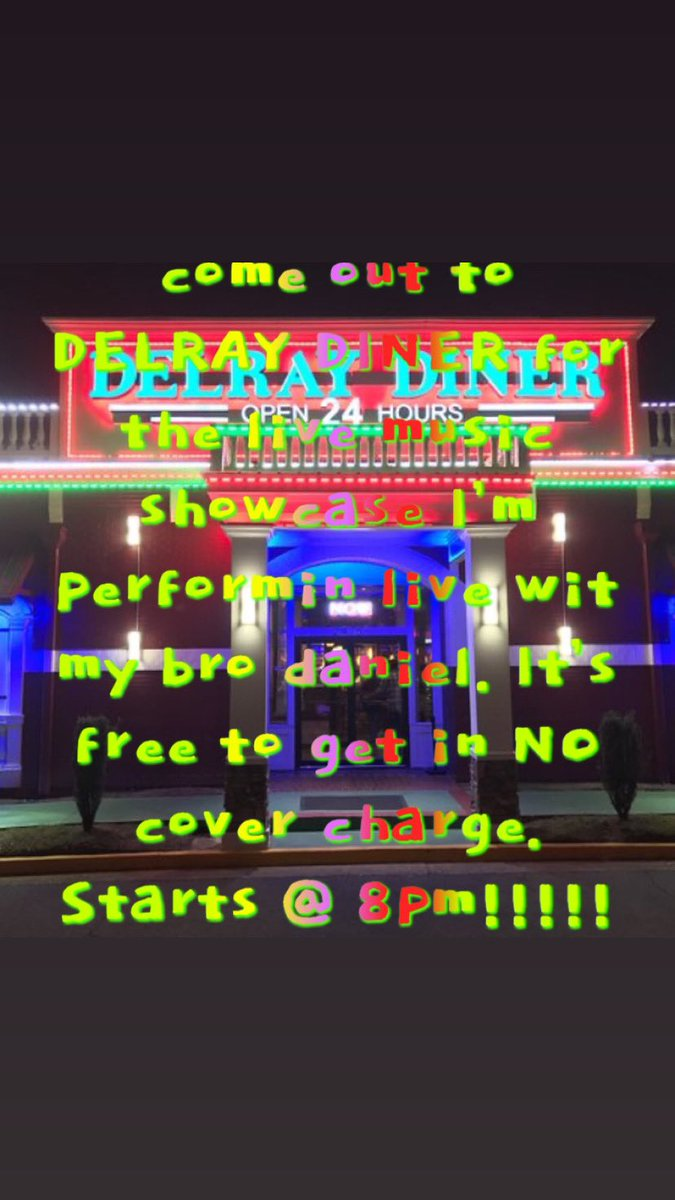 ATL DELRAY DINER MUSIC SHOWCASE TONIGHT!!!! COME OUT AND SUPPORT ME AND OTHERS AS WE TAKE THE STAGE AND PERFORM LIVE🔥🙌🏾🤙🏾🙏🏾👌🏾FREE TO GET IN!!!NO COVER CHARGE!!! THANK YOU EVERYONE FOR YOUR LOVE AND SUPPORT!!!!! #entertainment #atl #hiphop #explore https://t.co/CA9HI5BLNy