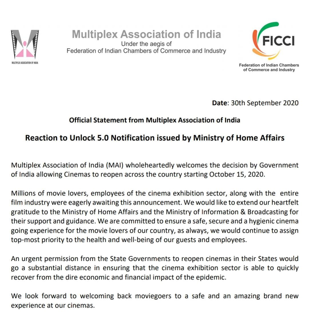 MAI Statement on Unlock 5.0 Notification issued by Ministry of Home Affairs.