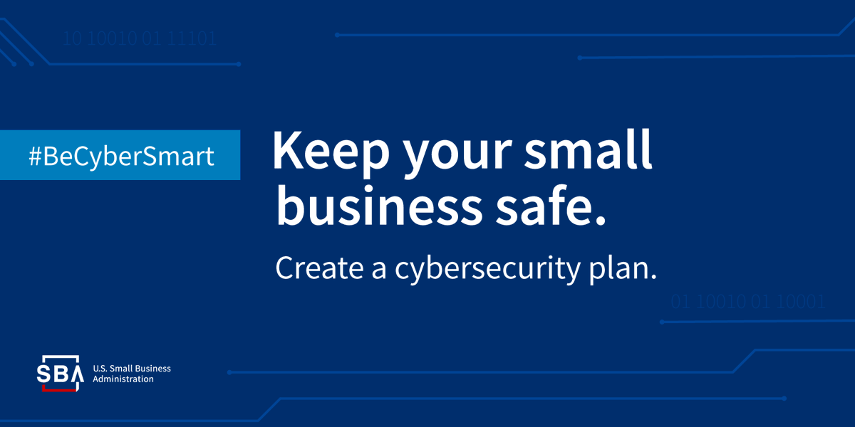 Do you have a #CybersecurityPlan for your #smallbusiness? Now is the time to create or revise one! #BeCyberSmart  ➡️https://t.co/c17JKQk6WU https://t.co/j4lRBmXcUk