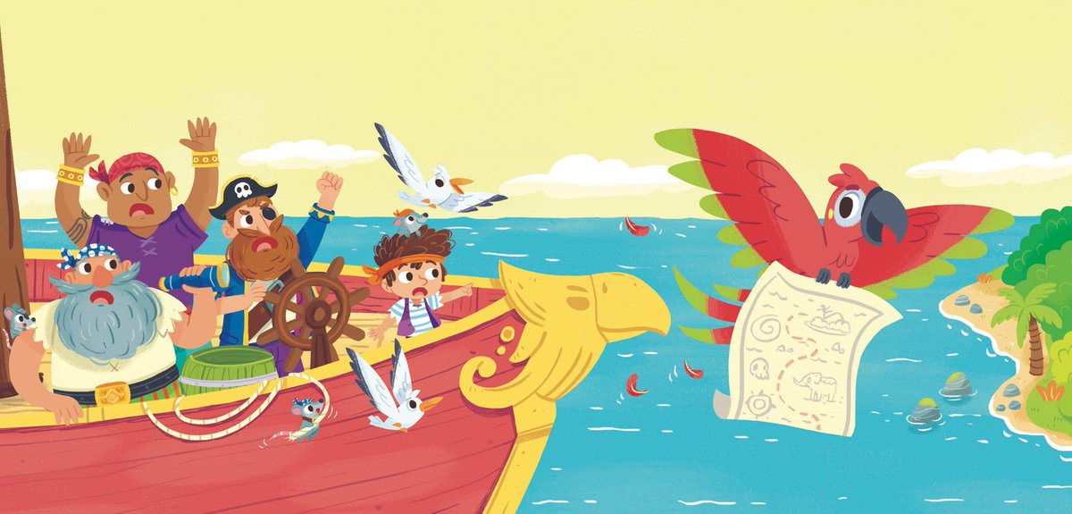 What happen now??? Catch that parrot! 🦜 🗺   #boardbook #soundbook #illustration #pirate #crew #ship #illustrationartists #kraken #crew #childrenbookillustration #kidlit https://t.co/GDa1xtaiH5