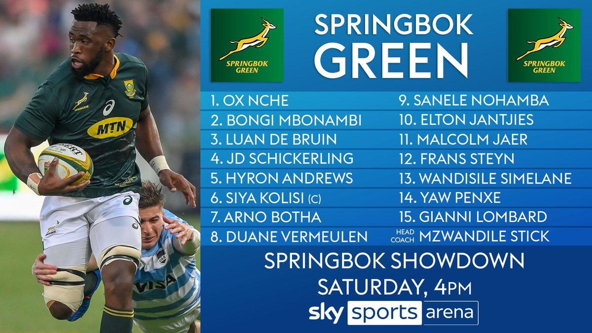 test Twitter Media - The teams are in for Saturday's #SpringbokShowdown 🇿🇦  Siya Kolisi captain's Springbok Green 🟢 against Lukhanyo Am's Springbok Gold 🟡  👀 Read more 👉 https://t.co/A207IVZcCv https://t.co/2CFN10XNHP