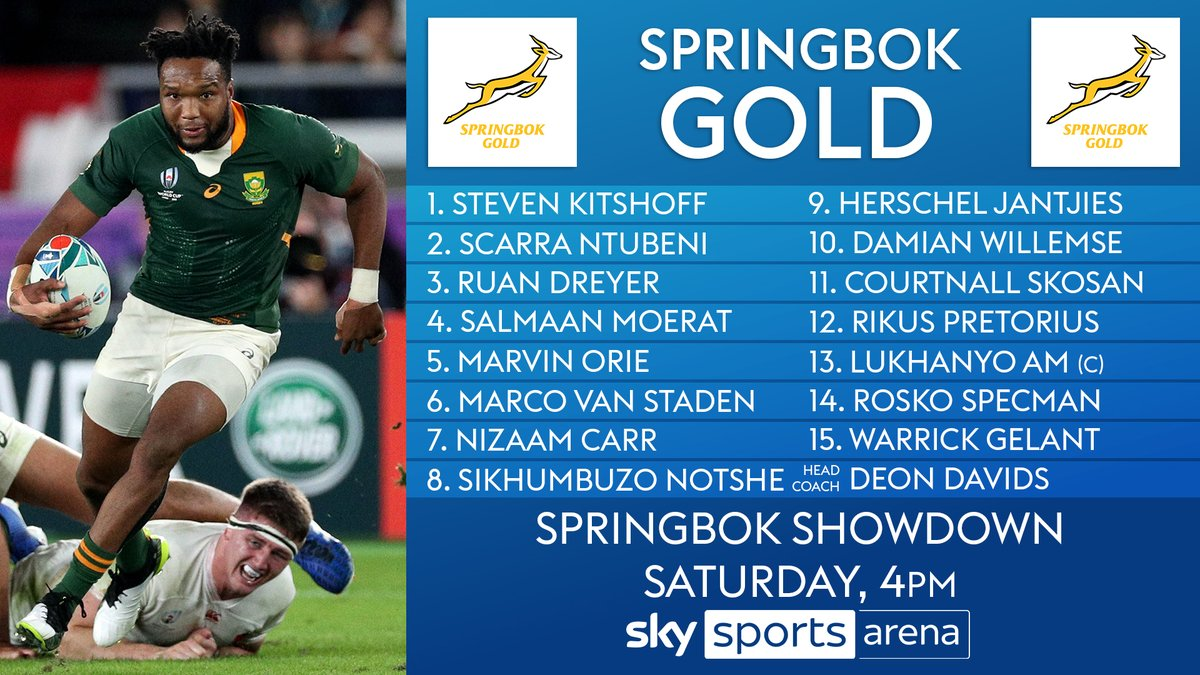 test Twitter Media - The teams are in for Saturday's #SpringbokShowdown 🇿🇦  Siya Kolisi captain's Springbok Green 🟢 against Lukhanyo Am's Springbok Gold 🟡  👀 Read more 👉 https://t.co/A207IVZcCv https://t.co/2CFN10XNHP