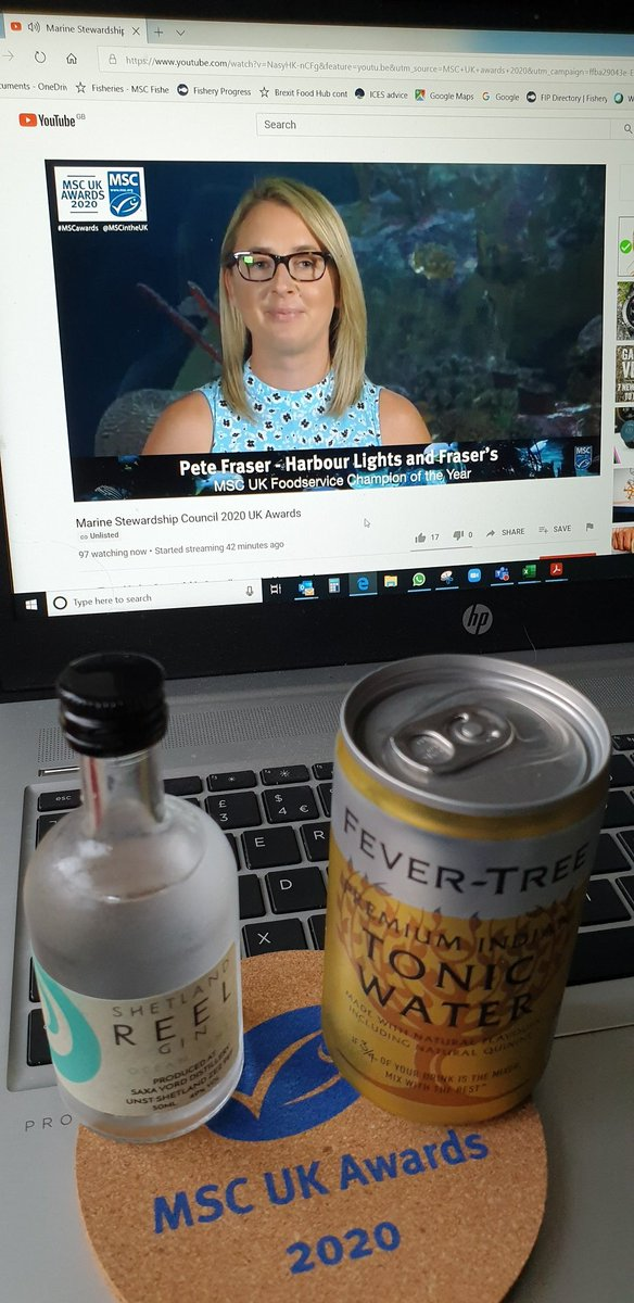 It's great to be joining the virtual @MSCintheUK #MSCawards celebrating #sustainableseafood champions & #sustainablefishing. Well done to all the winners.  And thanks for my G&T! #oceans #sustainability #fishing @lorenhiller https://t.co/daYTvWuS0K