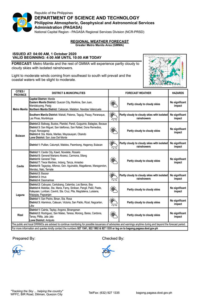 REGIONAL WEATHER FORECAST for GREATER METRO MANILA AREA (GMMA) #NCR_PRSD Issued at: 4:00 AM, 01 October 2020 Valid Beginning: 4:00 AM - 10:00 AM today  https://t.co/fiReKijVAd https://t.co/kMMrDHd3QD