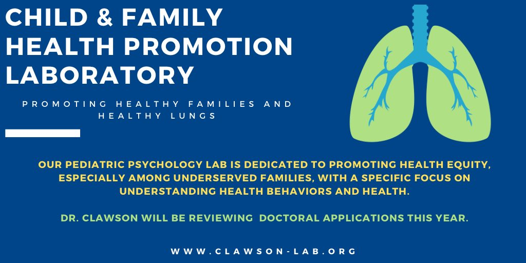 @CFHPLab is a pediatric psychology lab dedicated to promoting health equity, especially among underserved families. I will be reviewing doctoral applications this year.                                Check out my website: https://t.co/U2OBC4iT1a https://t.co/rqRQqeRbTc