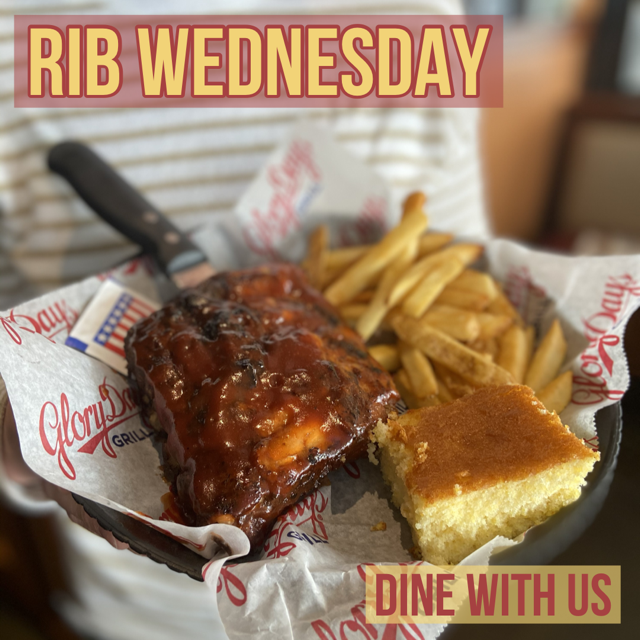 Only a few more days until the weekend - celebrate with our Rib Wednesday deal! A delicious half portion on our BBQ Ribs for just $10.99! Get out of the house and dine with us! #ribwednesday #bbqribs https://t.co/tSdigJ6rAy