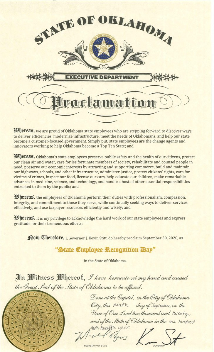 Thank you @GovStitt for declaring State Employee Recognition Day! From professional engineers, maintenance workers & surveyors to accountants, programmers & scientists, the men & women of @OKDOT are proud to serve the State of Oklahoma each day. https://t.co/z9dThmhH4F