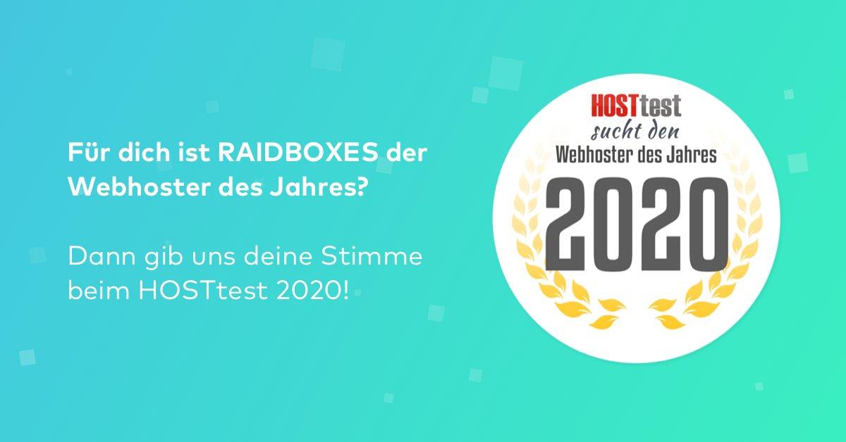"""Du findest, RAIDBOXES hat den Titel """"Webhoster des Jahres 2020"""" in der Kategorie CMS-Hosting verdient? 🤩 Dann klicke jetzt den Link und lass' uns deine Stimme da! 💙  #WordPress #Hosting #HostTest  Jetzt abstimmen ➡️ https://t.co/qAW0IDn88u https://t.co/pvV50nhMpo"""