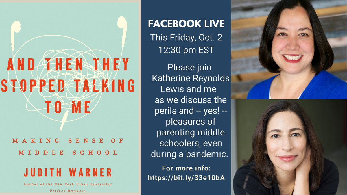 Im so thrilled to be doing this with #parenting expert @KatherineLewis. Family life has been upended, but the challenges of #middleschool stay the same. Join us: Well talk it out! This Friday 12:30 ET #FacebookLive bit.ly/33e10bA #mschat #weare7B #distancelearning