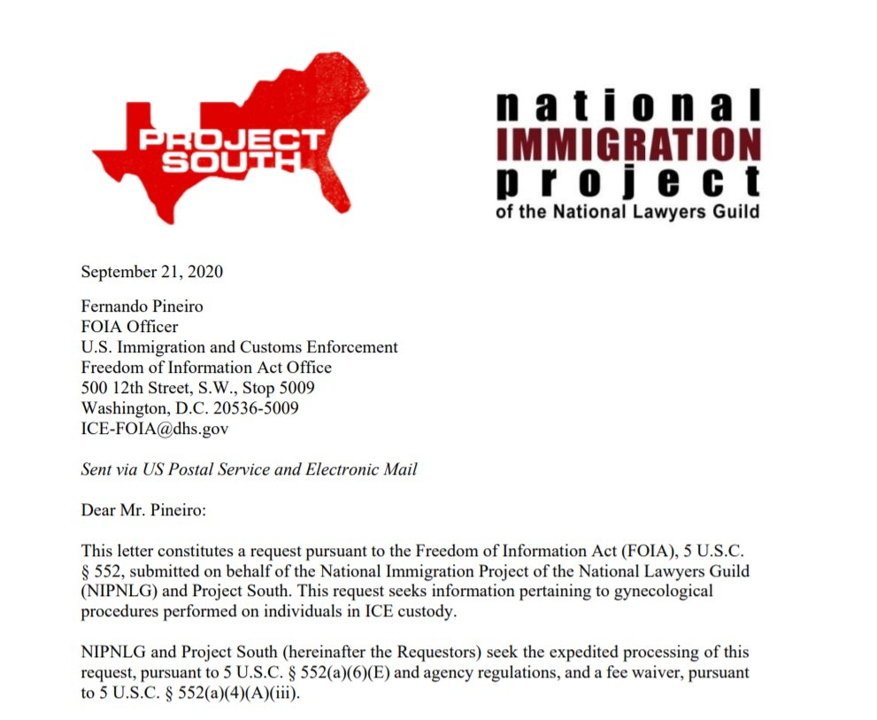 """ICYMI, @ProjectSouth & @NIPNLG filed a FOIA last week seeking records pertaining to gynecological procedures performed on people in ICE custody.   """"we need ICE to come clean about what is happening at facilities nationwide""""   #ShutDownIrwin  https://t.co/EPfDf3IcWO https://t.co/DJSet5VTJk"""