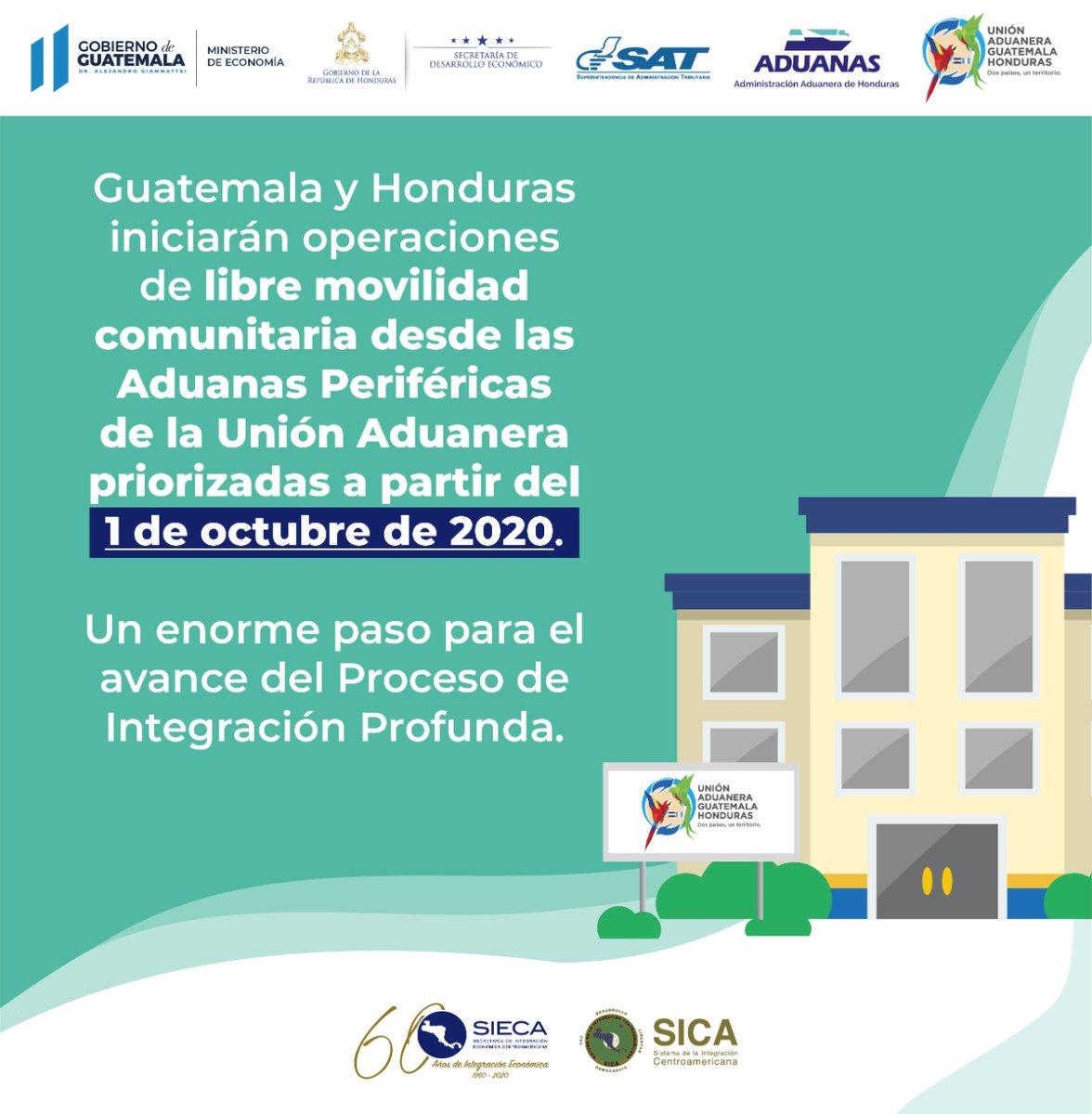 test Twitter Media - A partir de este 1 de octubre Guatemala y Honduras iniciarán operaciones de libre movilidad comunitaria desde las Aduanas Periféricas de la Unión Aduanera priorizadas. https://t.co/XknaCh8juw