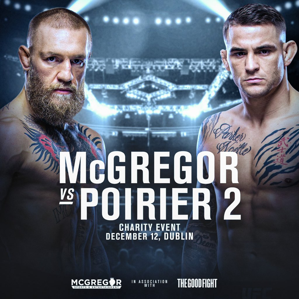 Martial art sparring match in aid of charity. Dublin, December 12th 2020.  Free to air spar. McGregor vs Poirier.  List of chosen charities available soon. All donations welcome ❤️ https://t.co/cLfFbQ0IJF