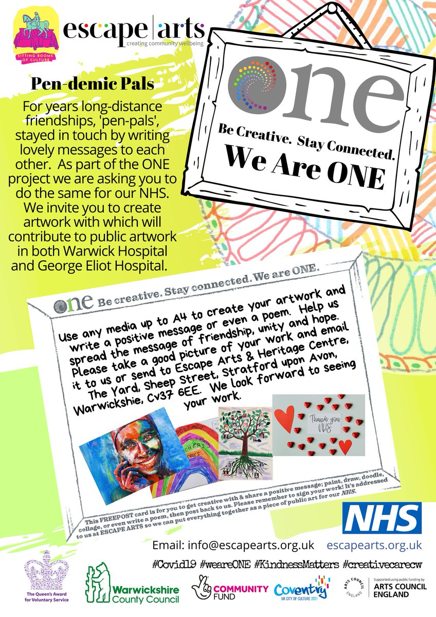 The deadline to submit your ONE Project work for our public art display at Warwick & George Eliot Hospital will be Friday 23rd October! Don't forget to share your work with us at ONE: Be Creative https://t.co/VBxjhCfokx #creativecarecw #WeAreOne #CreateWell2020 #BestWarwickshire https://t.co/Vm291yswW7