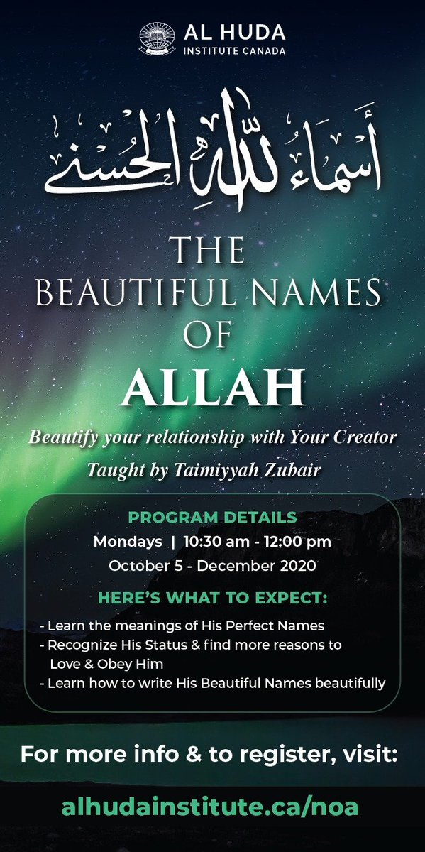"""💠Allah's Messenger (SAW) said, """" #Allah has ninety-nine #names , i.e. one-hundred minus one, and whoever knows them will go to #Paradise .""""[Bukhari 2736]   📖Don't miss your chance to #learn *The Beautiful Names of Allah* and truly get close to Him. https://t.co/ZiQ8tH1cRY"""