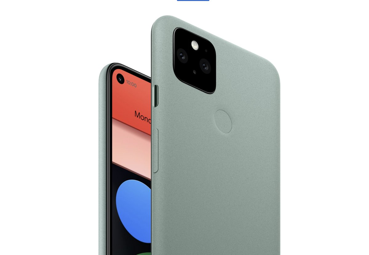 "Pixel 5  6"" Full HD OLED 4080mAh battery 128GB/8GB  Holepunch camera cutout  Fully recycled aluminum body Wireless charging (how? Neat!) Water resistant  12MP Primary Camera 16MP ultrawide  New ""portrait light"" effect Improved video stabilization  Starting @ $699 https://t.co/Qp55OYylY9"
