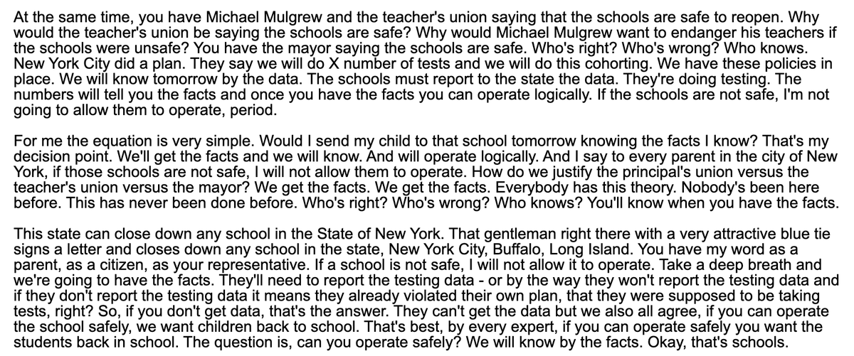 @leoniehaimson @NYCSchools @UFT Are these the comments youre talking about? Either way, the DOE is shutting down schools with as few as 2 cases, and what Cuomo is actually saying here seems quite vague