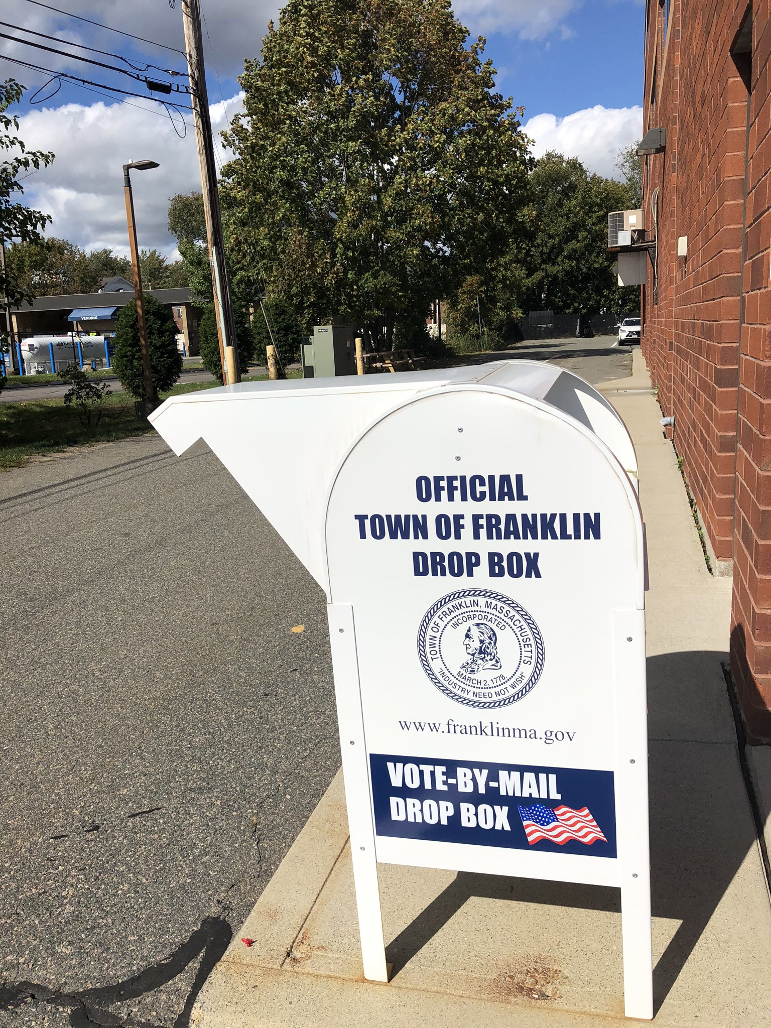 Town of Franklin, MA:  Business Drop Box available for Mail in Ballots