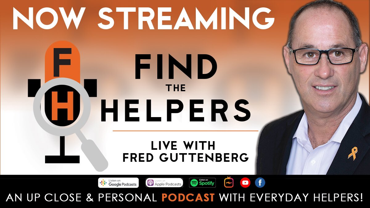 Episodes 1 & 2 of Find The Helpers: LIVE with @Fred_Guttenberg are now streaming! Listen on Spotify, Apple Podcasts, and Google Podcasts - or watch on Youtube, Facebook, and IGTV! For more information, visit https://t.co/h9xcm5AMdn.  #FindTheHelpers #LIVEwithFredGuttenberg https://t.co/yHviH3pf65