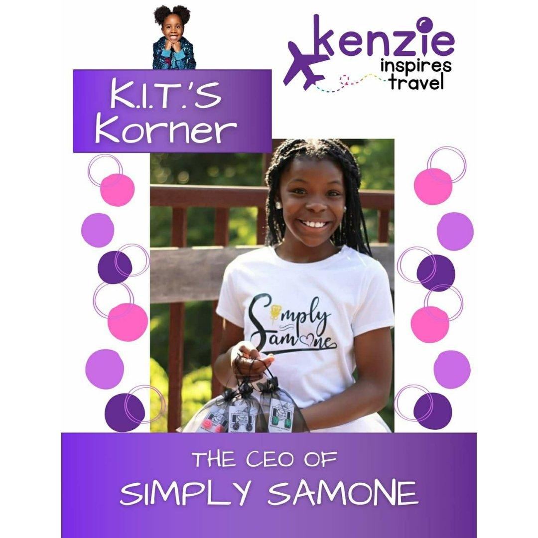 In This week's #KITSKorner we feature 10-year-old CEO of #SimplySamone Nyla Samone McMichael. https://t.co/Agi3B01tCI  #KenzieInspiresTravel #SmallBusiness #KidEntrepreneur #KidCEO #KidBoss #BlackOwned #BlackGirlMagic #GirlPower https://t.co/FM2PTUNvBG