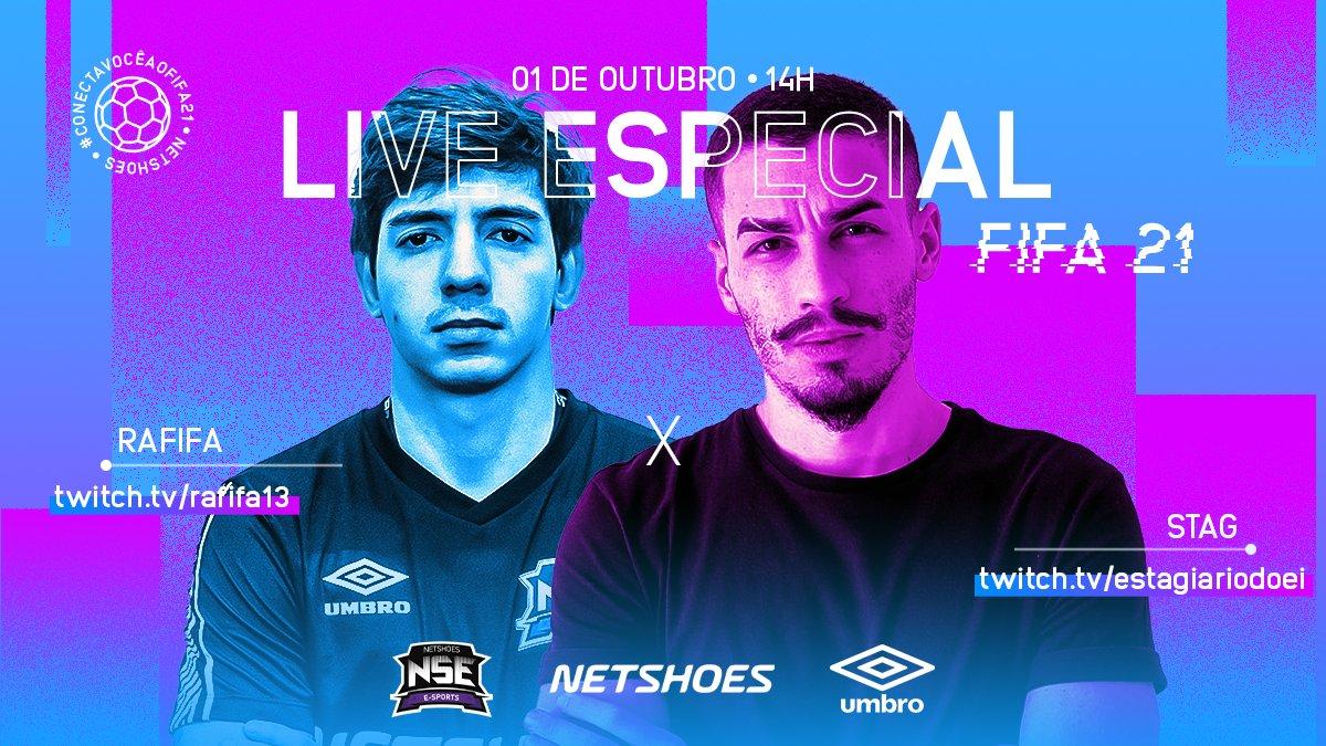 A hora de decidir chegou: @RafifaR13 ou @OEstagiarioDoEI? 🤔  As lives de amanhã na Twitch com o nosso time vai mostrar todas as novidades do novo #Fifa21 , além de premiações exclusivas! 🎁  A gente #ConectaVocê ao #Fifa21 ! 👀  @NetshoesESports @UmbroBrasil https://t.co/iO3m13DVOw