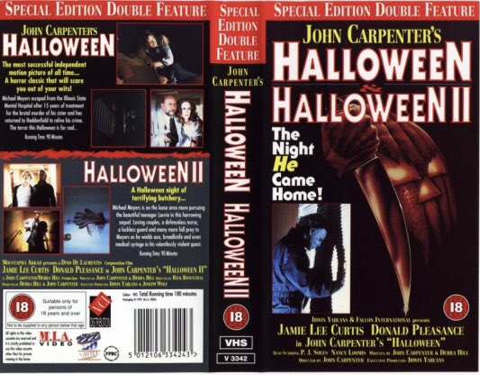 Original retail vhs artwork of the movie double feature of #Halloween and #Halloween2 starring Donald Pleasence and Jamie Lee Curtis #Tbt #artwork #Bluray https://t.co/7WvFi6rv1S