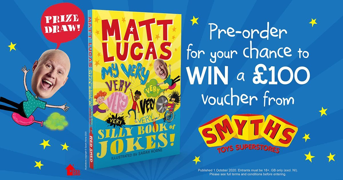 Last chance to #win a £100 voucher from @SmythsToysUK. To enter, pre-order My Very Very Very Very Very Very 𝑉𝑒𝑟𝑦 Silly Book of Jokes by @RealMattLucas before midnight and enter your order number here: https://t.co/2eOAsItR5z https://t.co/aAotVlMkCm
