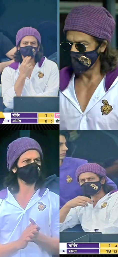 Whn kingkhan in the house😍❤️😍 Jeet toh pakki honi hi thi..🔥😎✌️ Good job @KKRiders 💜💛💜.. thankyou for winning, specially this match, afterall it's in the presence of @iamsrk (Boss) 😍😍👍👍😘😘  #ShahRukhKhan #KKR #KKRvRR #KKRHaiTaiyaar #KorboLorboJeetbo #IPL2020 https://t.co/M467h9DNbd