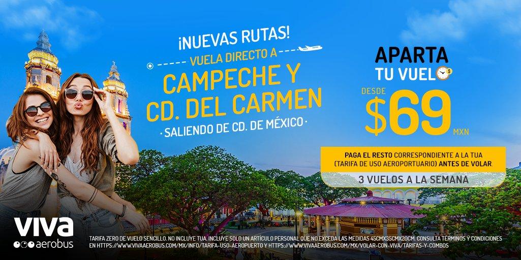 ¡Estrenamos nuevas rutas hacia #Campeche y #CdDelCarmen! 😎✈️ Vuela saliendo de Ciudad de México y aparta tu vuelo desde $69 pesos, compra tus boletos al mejor precio. 👉 https://t.co/CMCqEfsLZX https://t.co/8jWq24Nb5C