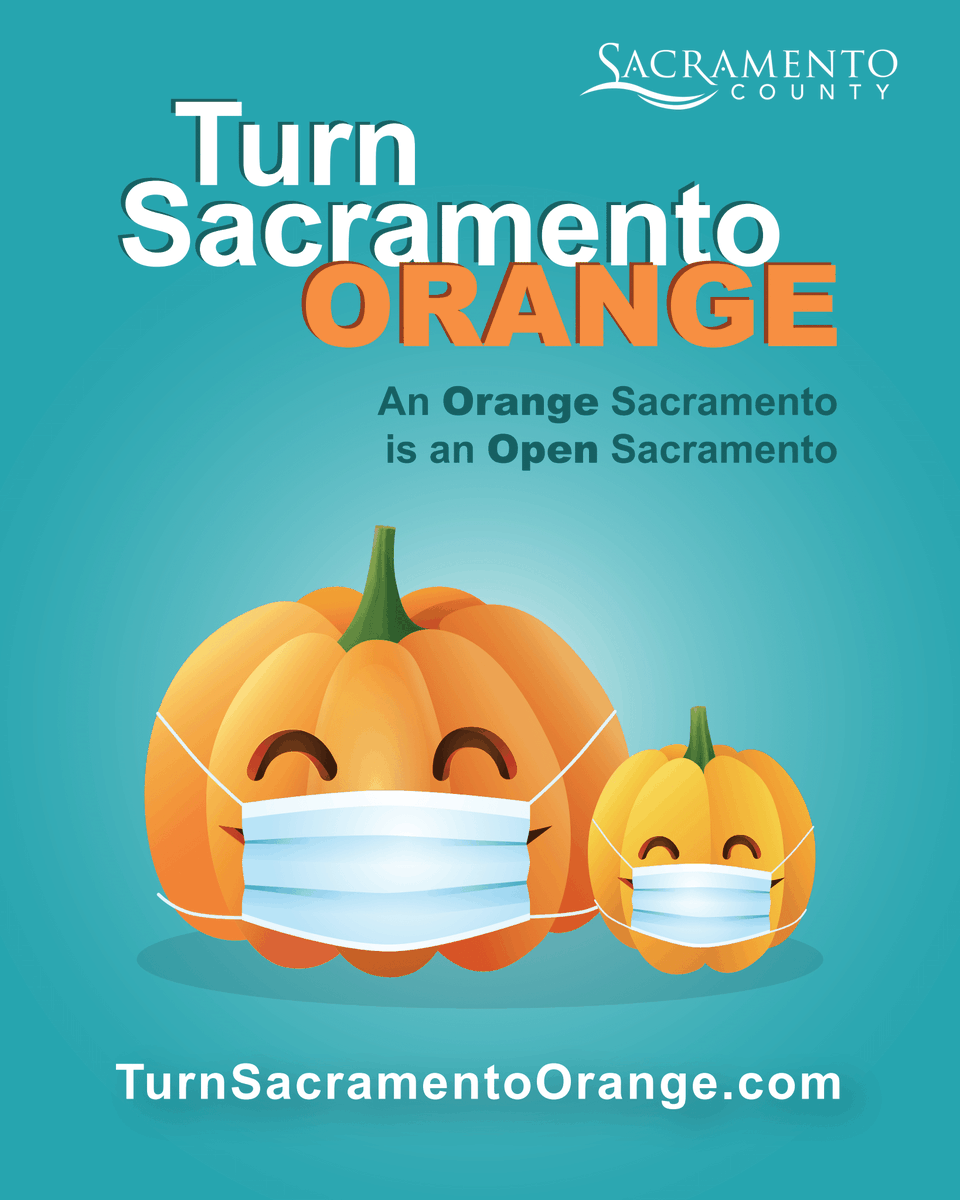 We've set a goal of turning Sac County Orange by Halloween! We want tolower our daily cases so we can move into a less restrictive tier of the State's reopening blueprint! We are currently in the RED tier and need your help to keep improving! https://t.co/g7kfGtQ3eb #sacCounty🎃 https://t.co/jYUG0Q8yPQ