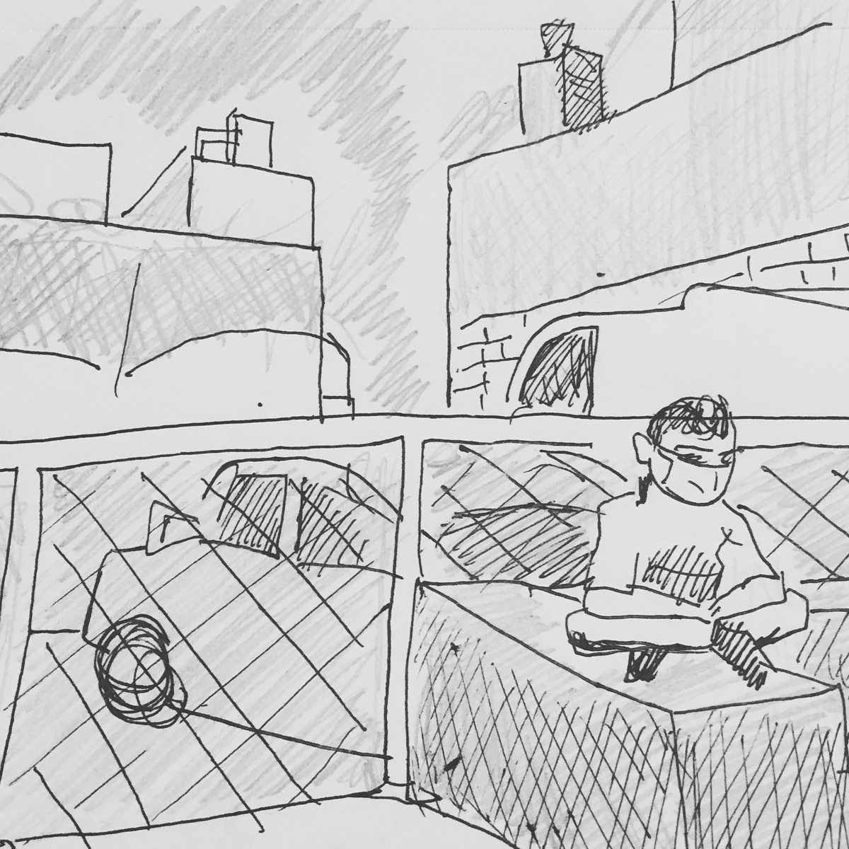 #NewYorkMinutes, Day 406. Took a break while on my morning walk. #rest #sit #rest #parkinglot #truck #car #street #queens #drawing #sketch #illustration @galacticrevolt  @JAIllustrations https://t.co/y2pdgiOR93