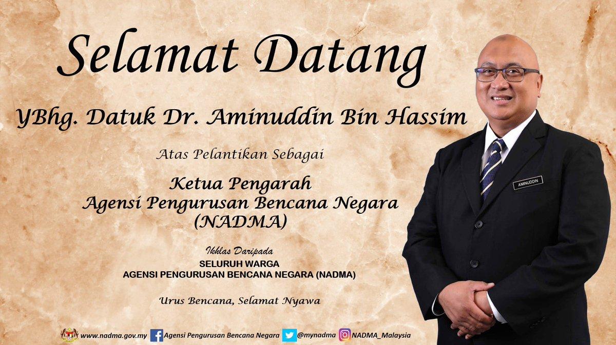 1 Oktober 2020 - Hari ini NADMA Malaysia menyambut ketibaan Ketua Pengarah baharu, YBhg Datuk Dr. Aminuddin bin Hassim. Semoga NADMA terus maju dan teguh di bawah kepimpinan yang baharu ini. https://t.co/5Z3Pq3X9Bx
