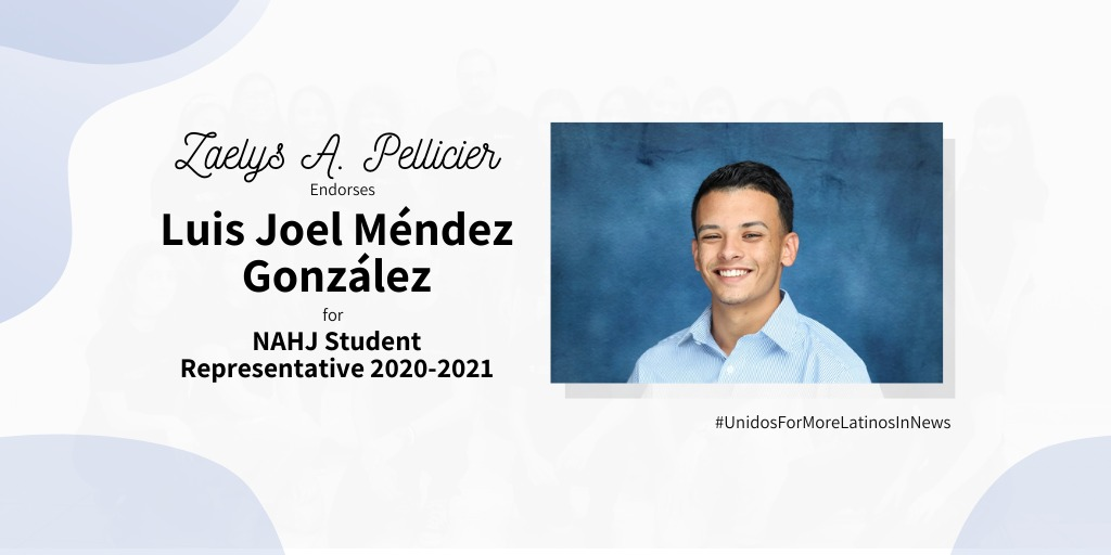 It's because all of this that I am proud to endorse Luis Joel Méndez Gonzalez (@m_joel17) for the NAHJ Student Representative position. I am certain that he will hear the members, he will know how to work in a team, and he will care to bring the best solutions so NAHJ can grow ++ https://t.co/tFyrZLKqML