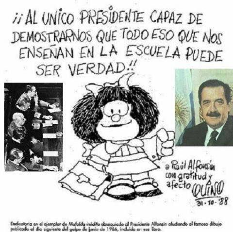 Falleció #Quino .el más grande de los artistas gráficos argentinos.Aca Mafalda homenajeando a otro grande https://t.co/L1XNB4ju2Y