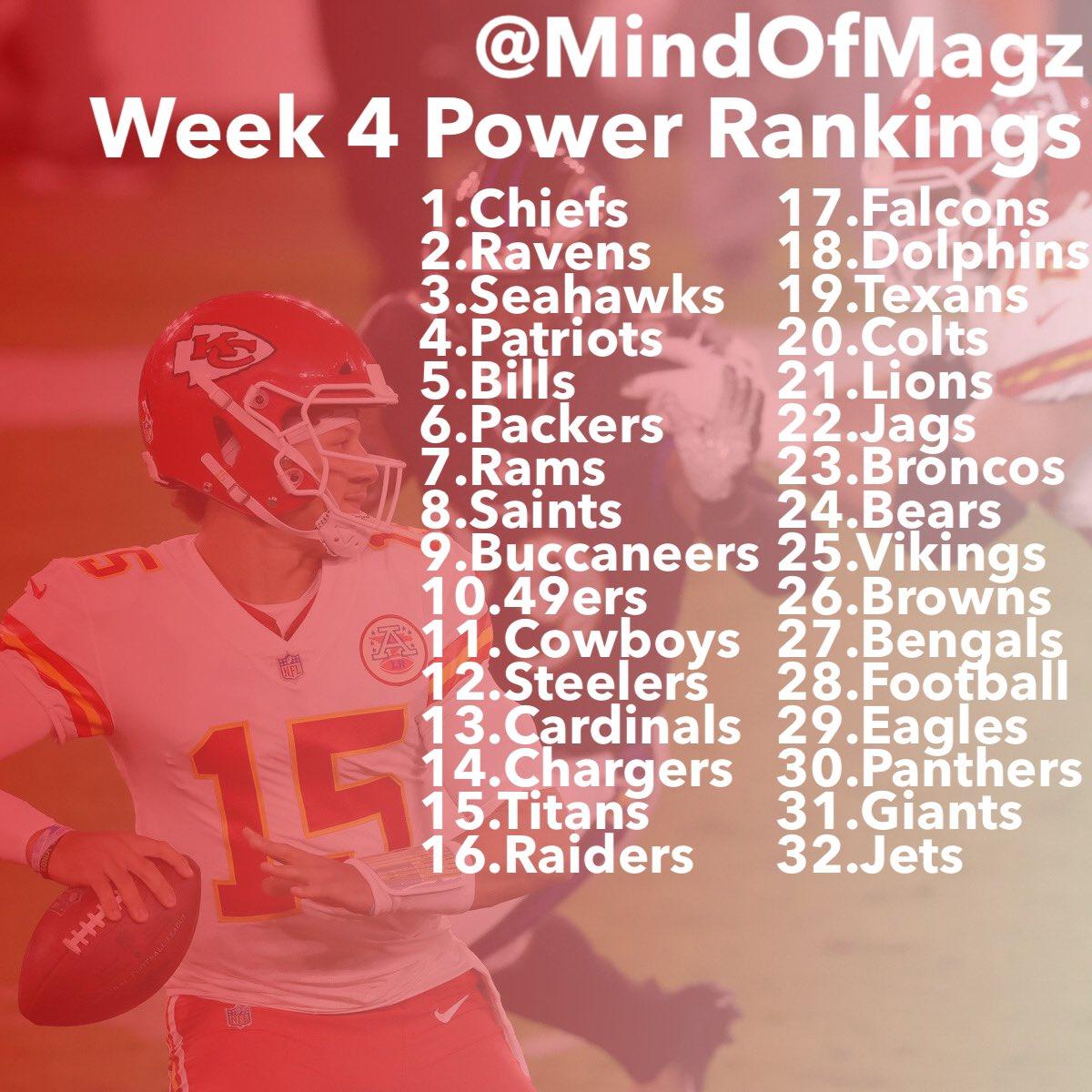 My #NFL Week 4 Power Rankings https://t.co/HAKVjgrNyO