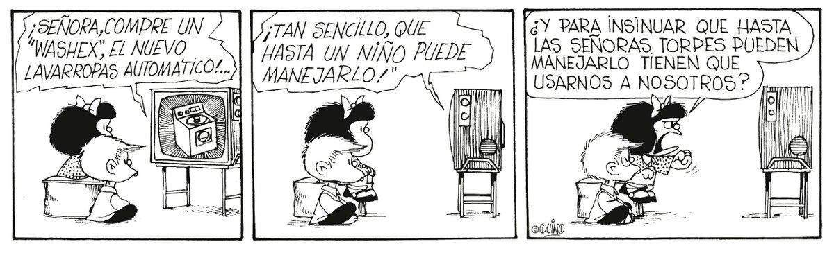 """Andrés Di Tella on Twitter: """"Quino no se privó de hacer chistes sobre el origen de la tira, con alusiones críticas permanentes a todo tipo de electrodomésticos, empezando por supuesto por la"""