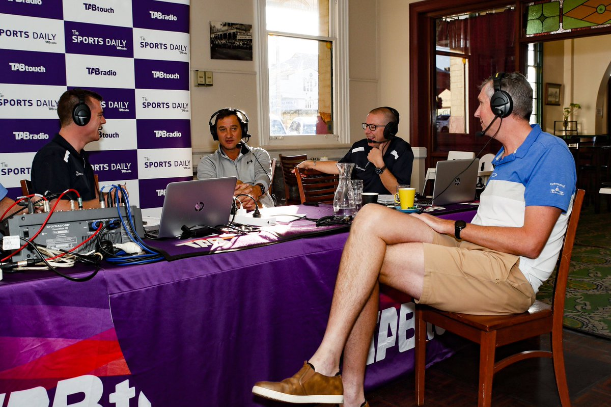 Some fair-dinkum #WAFooty royalty on-air LIVE from The Palace Hotel in #Kalgoorlie ahead of the celebrity Golf Day.  Matthew 'Spider' Burton and Phil Matera joining Diggers and @timw1995 for a yarn...  #TheSportsDaily   📸: @_HamiltonCC https://t.co/ofjajYIfwp