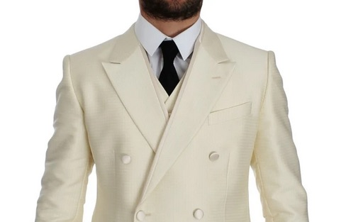 DOLCE & GABBANA - White Slim Double Breasted 3 Piece Suit. 100% Authentic, Ivory white polka dotted pattern slim fit double breasted 3 piece Suit. Made in Italy. https://t.co/Ya9r9P4fmb #dolcegabbana #preciohuevostore #preciohuevofashion #preciohuevoclothing #suits #NYTfashion https://t.co/M8uc7np3Xy