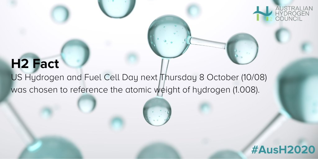 Did you know scientists and engineers in the USA  will celebrate #Hydrogen and Fuel Cell Day on October 8?   Suitably chosen for the atomic weight of hydrogen (1.008). https://t.co/Zt1TEE78NI