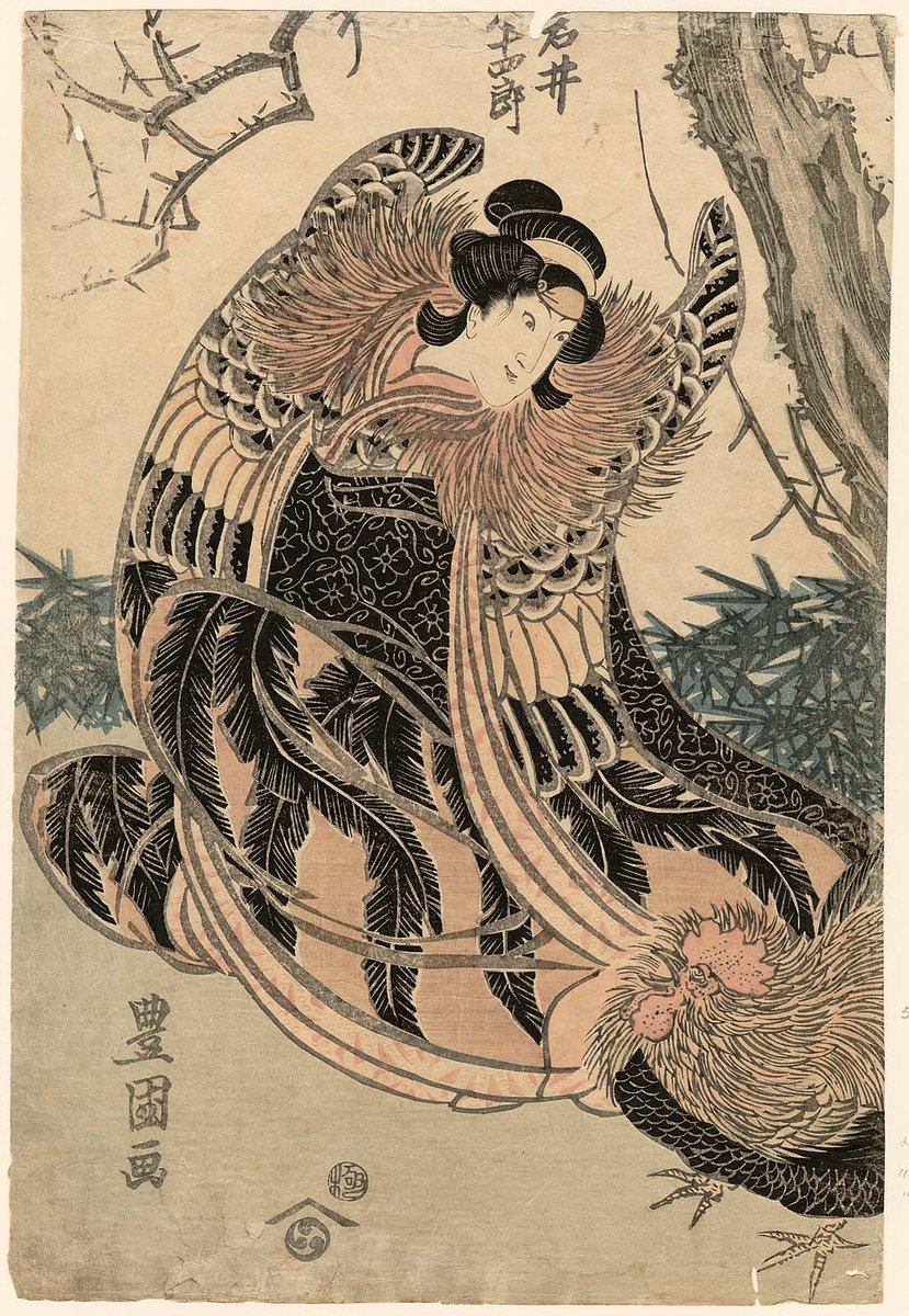 Toyokuni -- Kunisada's teacher and mentor Actor Iwai Hanshirô V as the Spirit of a Chicken, from an 1814 kabuki play in Edo #kunisada #ukiyoe https://t.co/cHr1WBQvv7