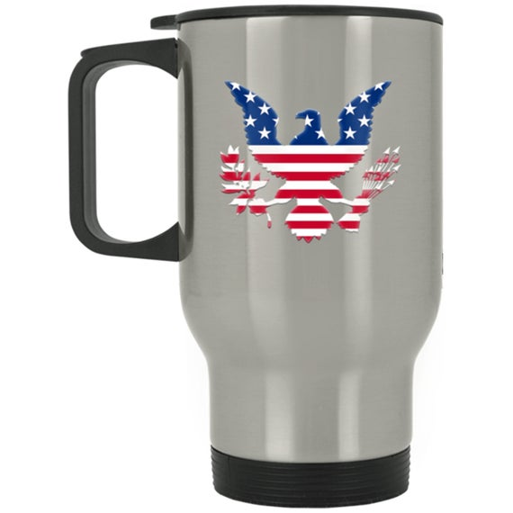 Travel Mug Red White And Blue Eagle 14 oz Stainless https://t.co/5xIQ57xXaq #4thofjuly #july4th #fourthofjuly #travelmug #mug https://t.co/dzmWjvCWQi