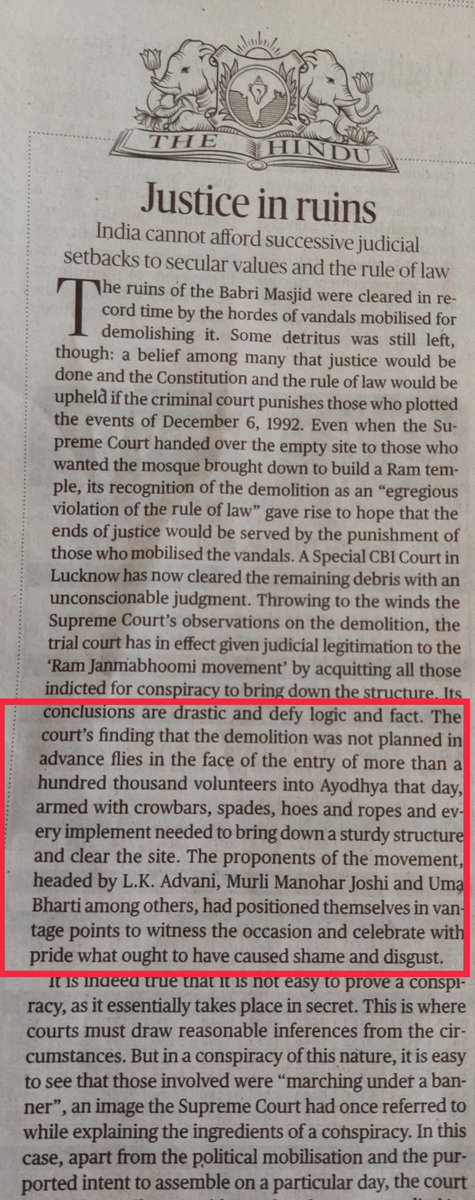 'Justice in ruins' - quite a damning editorial by 'The Hindu' on #BabriVerdict