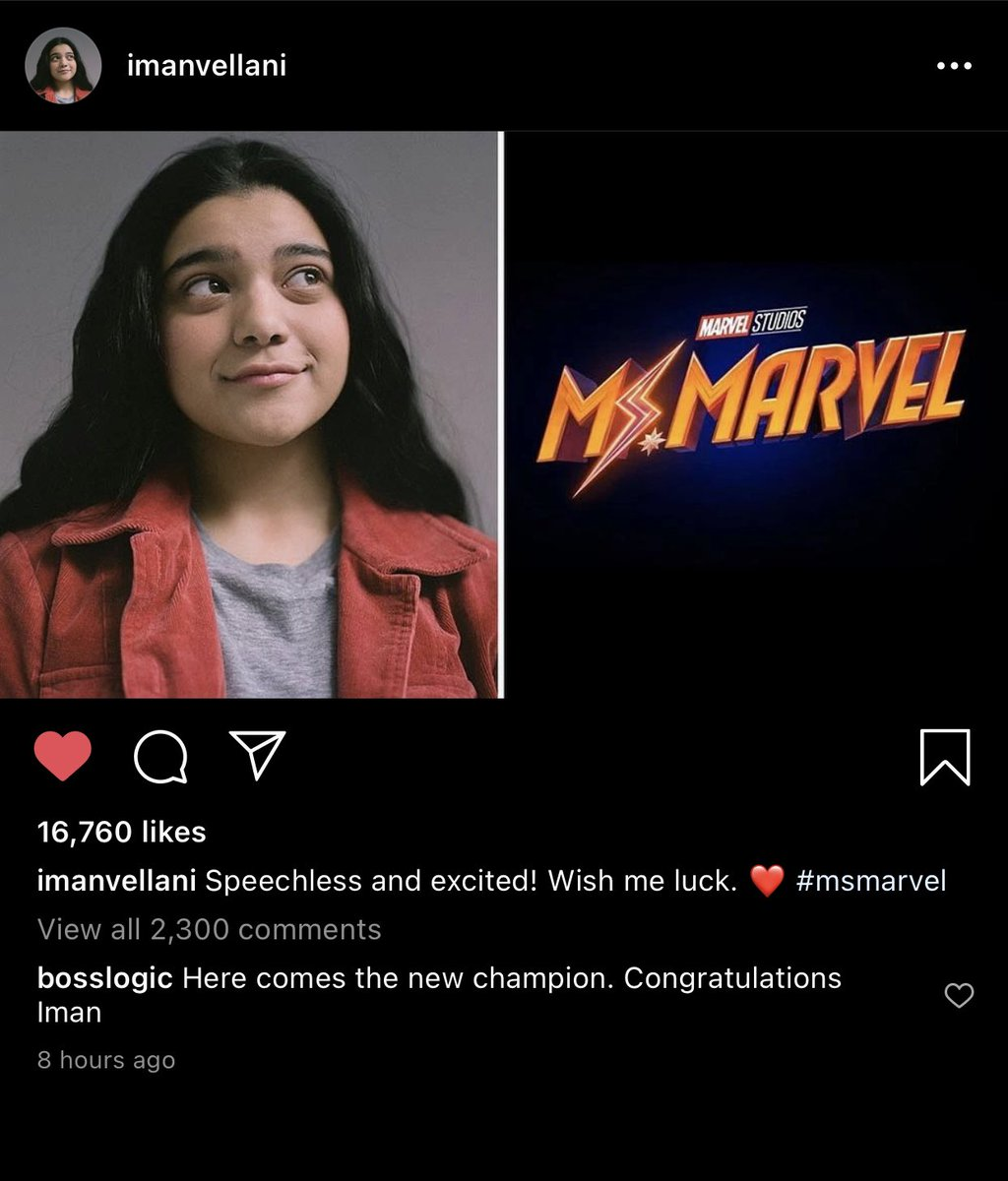 I hope this is Iman Vellani's actual Instagram account because she's so precious 🥺