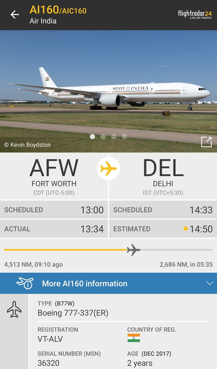 The customized #B777-300ER which is to be used by the Indian Prime Minster, President and Vice President is now enroute to @DelhiAirport  The ex- @airindiain aircraft will replace the ageing #B747 which are currently used by the government H/T @MaverickVIDP  #AvGeek #AirIndiaOne https://t.co/N8ErxeOmdO