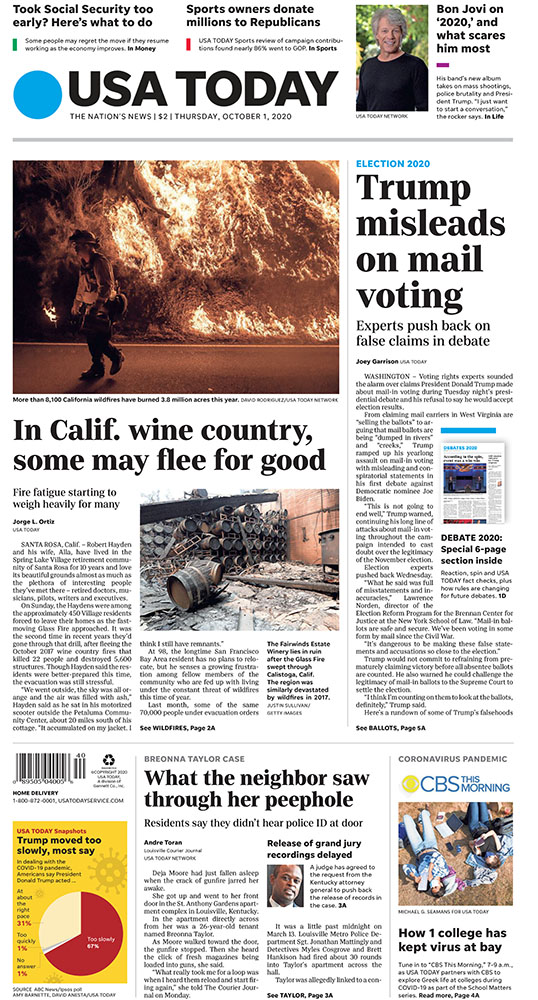 A look at Thursday's paper: –Trump misleads on mail voting: Experts push back on the president's false claims during the first debate. –What the neighbor saw through her peephole the night Breonna taylor died: Residents say they didn't hear police ID themselves at the door. https://t.co/3Q2gTNtbGE
