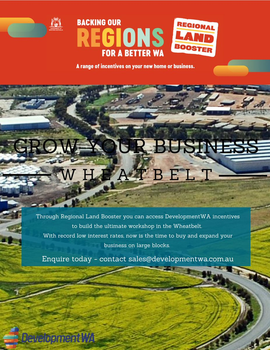 Grow your business in the #Wheatbelt on large and affordable blocks. The State Government, through Development WA, has made development-ready industrial, commercial & residential lots land more affordable. Build your new business premises today. https://t.co/mIuMjnQpmH https://t.co/K5SG1HC8le