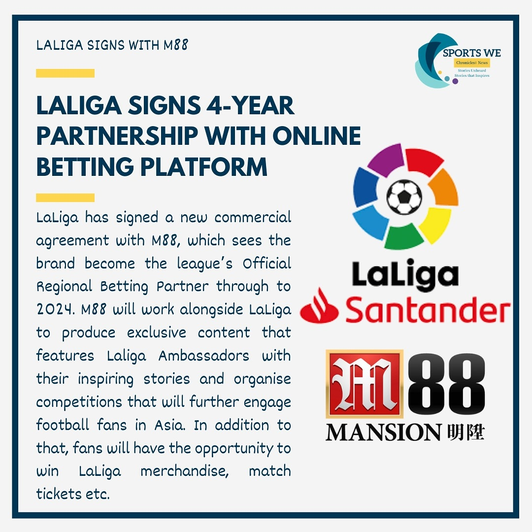 LaLigahas signed a new commercial agreement withM88, which sees the brand become theleague'sofficial regional betting partner through to 2024. . . . #laliga #football #messi #realmadrid #soccer #futbol #a #premierleague #barcelona #championsleague #fifa #cr #seriea https://t.co/9KLG30DDeD