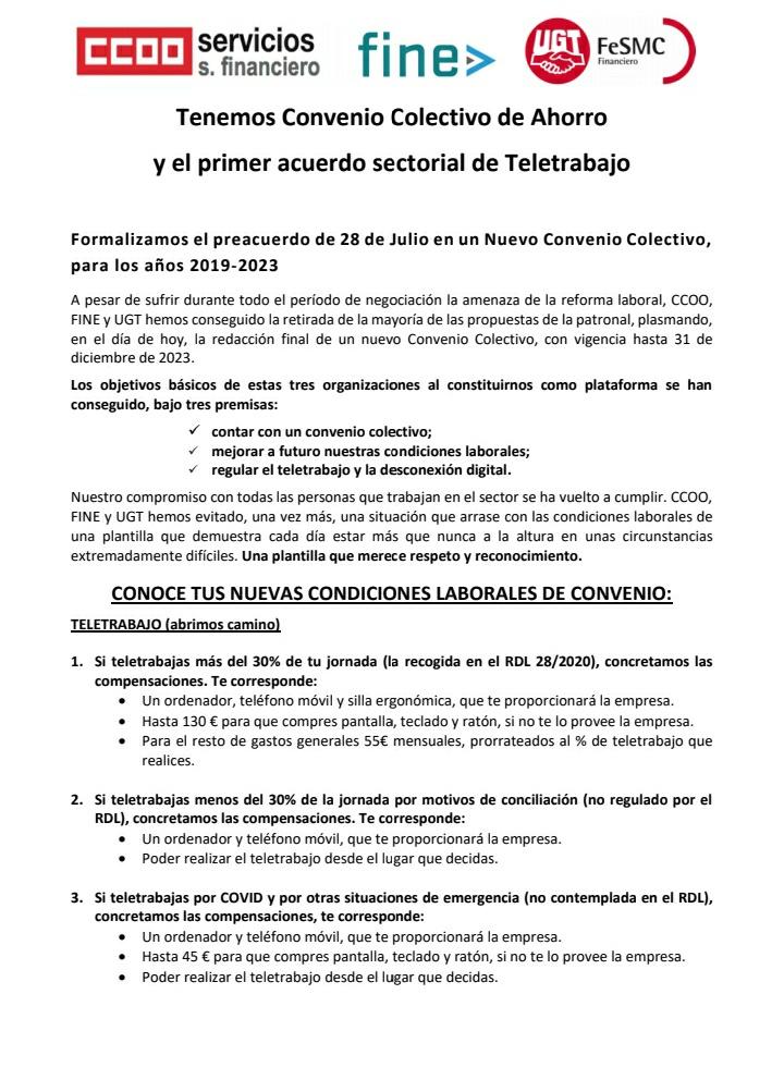 🟥 Comunicado conjunto 🟥 Tenemos Convenio 🔴 Colectivo de Ahorro y el primer acuerdo sectorial de Teletrabajo ⭕ • Mantenemos la regulación de tus condiciones laborales con total garantía. #MarcamosLaDiferencia #CCOOntigoDíaaDía #CCOOseMueve @serviciosccoo  @ChemaMartinez63 https://t.co/ey25o1QUnu