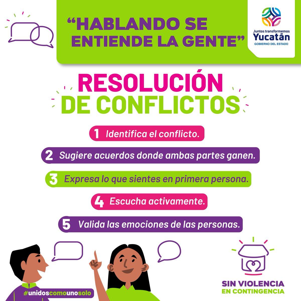 Gobierno De Yucatán على تويتر La Resolución De Conflictos Mediante El Diálogo Favorece La Comunicación Asertiva Sigue Estos 5 Sencillos Pasos Para Lograrlo Sinviolenciaencontingencia Https T Co 73b2tqiffr