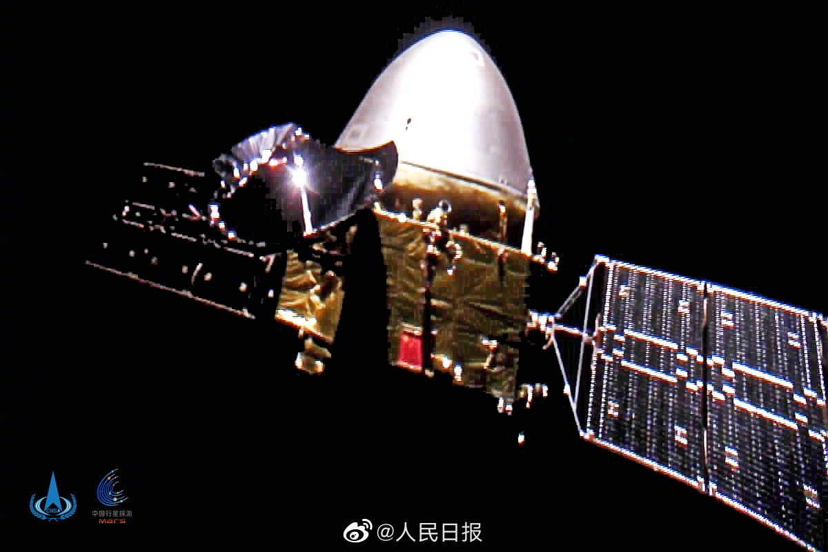 """#NationalDay greetings from China's #Mars probe #Tianwen1! A """"selfie"""" to celebrate China's 71st birthday. https://t.co/my2QFZrYqS"""